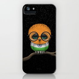Baby Owl with Glasses and Indian Flag iPhone Case