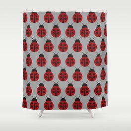 Who's That Lady Bug Print Seamless Pattern Shower Curtain