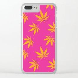 Marijuana leaves print - pink/orange Clear iPhone Case