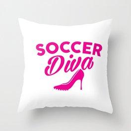 Cute Soccer Diva Cleat & Heels Throw Pillow