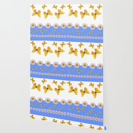 BLUE MODERN ART YELLOW BUTTERFLIES & WHITE DAISIES Wallpaper