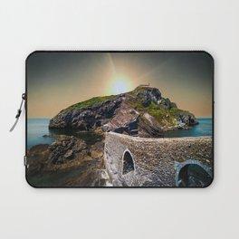 Idyllic scene of San Juan de Gaztelugatxe landscape in Spanish coast. Laptop Sleeve