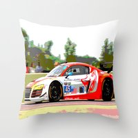 audi Throw Pillows featuring Flying Lizard Audi R8 | Road America by Phil Schroeder Design