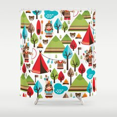 Cute indian haunting illustration pattern Shower Curtain