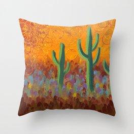 Saguaros Dreaming Throw Pillow