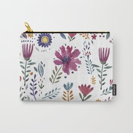 Watercolor Flowers White Carry-All Pouch