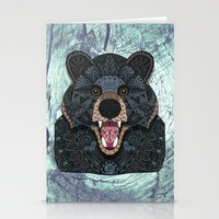 ornate Stationery Cards featuring Ornate Black Bear by ArtLovePassion