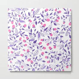 Floral doodles pink and violet Metal Print