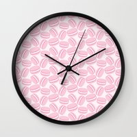 macaroon Wall Clocks featuring French Macaroon Pattern - Paris Art - Pink Macaron by French Macaron Art Print and Decor Store