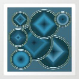 Blue Satin abstract pattern . Art Print