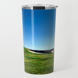 Golf course fairway and bunkers against blue sky Travel Mug