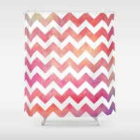 Watercolor Chevron. Shower Curtain
