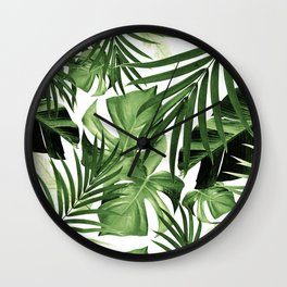 Tropical Jungle Leaves Pattern #12 #tropical #decor #art #society6 Wall Clock