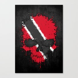 Flag of Trinidad and Tobago on a Chaotic Splatter Skull Canvas Print