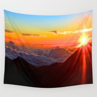 hawaiian Wall Tapestries featuring Hawaiian Sunrise by amboian