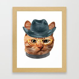 Cat Kitty Kitten In Clothes Yellow Glasses Cowboy Hat Framed Art Print