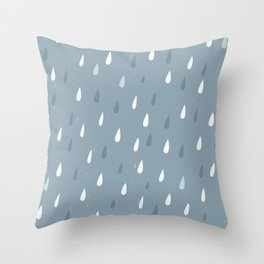 rain drops on grey Throw Pillow