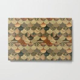 Brown Copper Glamour Mermaid Scale Pattern Metal Print