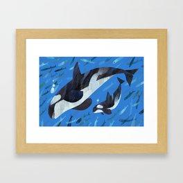 Killer Whale and Baby Framed Art Print