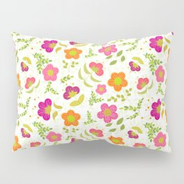 Bright Rounded Flowers on Bed of Pale Green Leaves (pattern) Pillow Sham