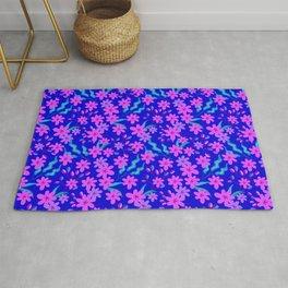Beautiful girly spring pink flowers, delicate blue leaves floral fabric navy blue feminine pattern. Rug