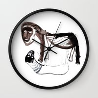 lions Wall Clocks featuring LIONS by Valeria Kondor