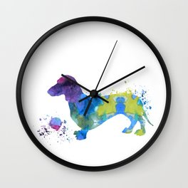 Colorful Dachshund Art Wall Clock