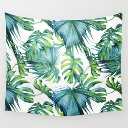 Blue Jungle Leaves, Monstera, Palm #society6 Wall Tapestry