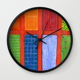Large rectangle Fields between red Grid Wall Clock