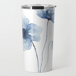 Blue Watercolor Poppies Travel Mug