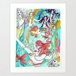 Mermaid Birthday Party Art Print