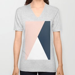 Elegant blush pink & navy blue geometric triangles Unisex V-Neck
