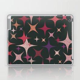 Purple, Red, Pink and White Stars in Dark Green Laptop & iPad Skin