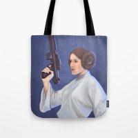 leia Tote Bags featuring Leia by Sara Meseguer