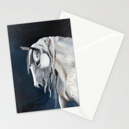 White Mustang Horse on Blue Sky Stationery Cards