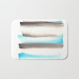 [170105] 1 Color Study Blue|Watercolor Brush Stroke Bath Mat