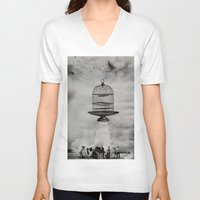 spaceship V-neck T-shirts featuring spaceship jail by sr casetin