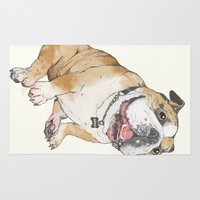 bulldog Area & Throw Rugs featuring bulldog  by Laura Graves