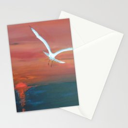 Seagull flying with Peace and Love Stationery Cards