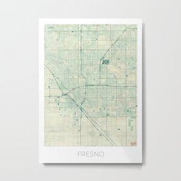 Fresno Map Blue Vintage Metal Print