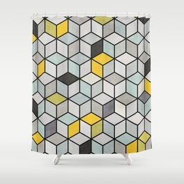 Colorful Concrete Cubes - Yellow, Blue, Grey Shower Curtain