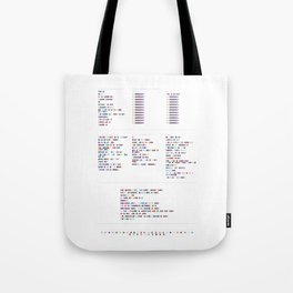 Aphex Twin Discography - Music in Colour Code Tote Bag