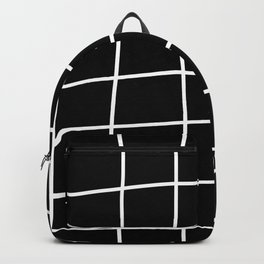 Large Hand Drawn Grid (white/black) Backpack