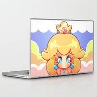princess peach Laptop & iPad Skins featuring Princess Peach Badge by Tiffa Cakes