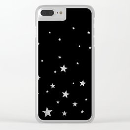 Silver Stars Clear iPhone Case