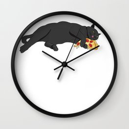 Paws off my pizza! - Perfect drawing for cat and pizza lovers alike Wall Clock
