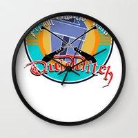 quidditch Wall Clocks featuring AZKABAN QUIDDITCH TEAM by karmadesigner