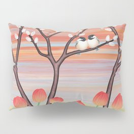 chickadees, pussy willow, & tulips Pillow Sham