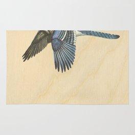 Vintage Blue Jay on Wood Rug
