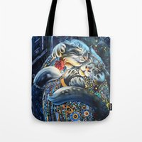 fitzgerald Tote Bags featuring The Fitzgeralds by Christina Hess